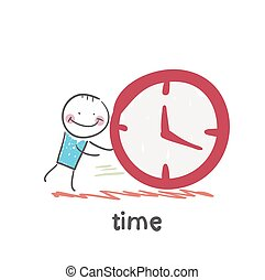 time. Fun cartoon style illustration. The situation of life.