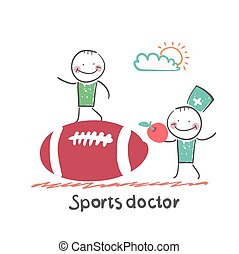 Sports doctor giving an apple to the person who sits on a huge soccer ball