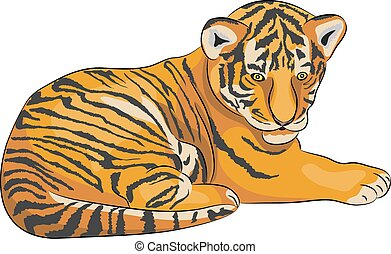 Vector tiger. - Image of little tiger lying isolated on...