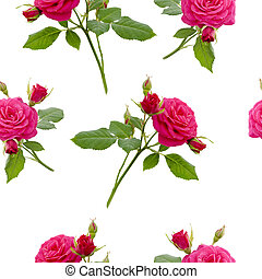 floral red rose seamless pattern on white background