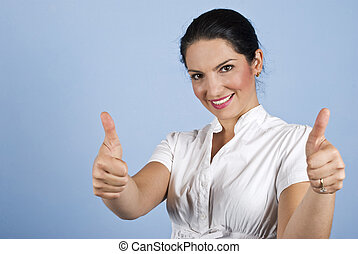 Business woman giving thumbs up - Beautiful business woman...