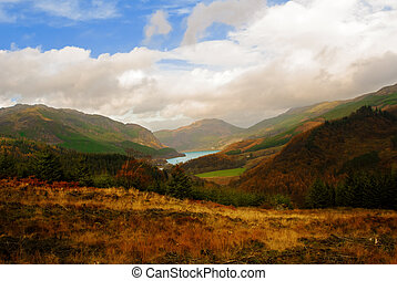 View of the picturesque hillside above Loch Lubnaig in the...