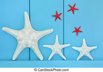 Sea Creatures - Starfish seashells on a wooden blue...