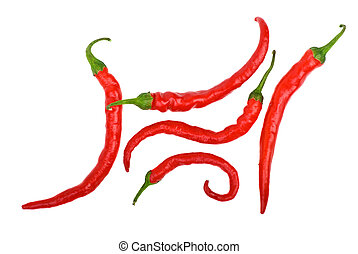 Red long curved chili peppers forming a glyph. Isolated on...