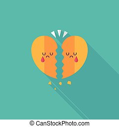 Valentine's Day broken heart flat icon with long...