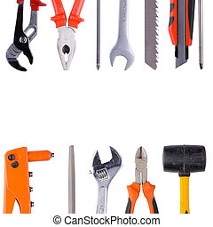 Tool collage on white background with the image of...