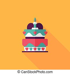 Valentine's, Day, cake, flat, icon, with, long, shadow,...