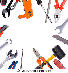 Tool collage isolated on a white background depicting...