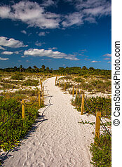 Trail to the beach in Sanibel, Florida.