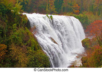 Marmore waterfalls, Italy - A jump of Marmore waterfalls in...