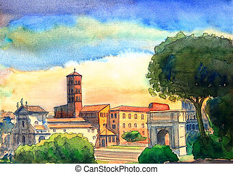 Roman Forum cityscape painted by watercolor. Rome, Italy