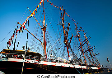 Tall ships in port - Tall ships parade in Klaipeda port...