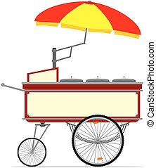 Hot dog cart - Cartoon hot dog cart. Vector without...