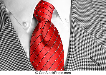 White Shirt Red Tie Suit Jacket - White dress shirt with red...