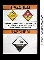 Hazchem sign - hazchem sign for hazardous substance storage...