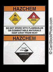 Hazchem sign - hazchem sign for hazardous substance storage...