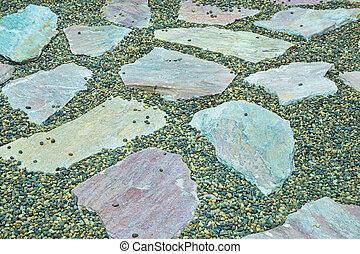Stone slabs walkway
