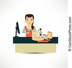 grocery store cashier at work