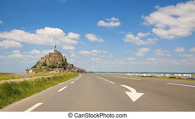 Mont Saint-Michel, rocky tidal island in Normandy, France