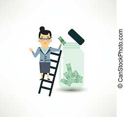 bank employee to keep money in the glass jar