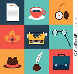 operating items typists, typewriter, glasses, cup of tea, a...