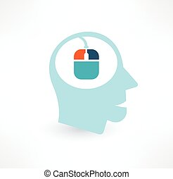 Mouse and head icon. Computer addiction concept. Logo design.