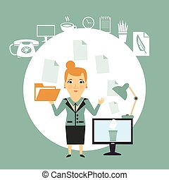 secretary working with documents illustration