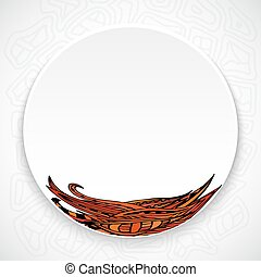 White plate with red floral ornament tribal style on a bright ab