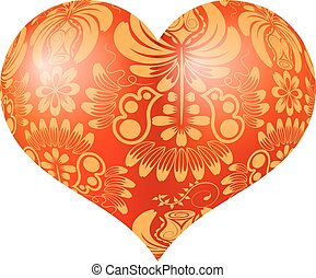 Red three-dimensional heart with floral gold ornament....