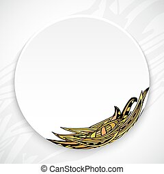 White plate with leaf ornament tribal style on a bright abstract