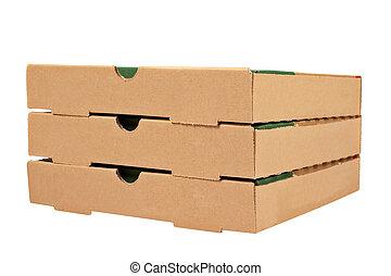 Three pizzas boxes