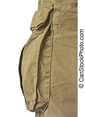 Military olive green army style cotton twill cargo pants storage