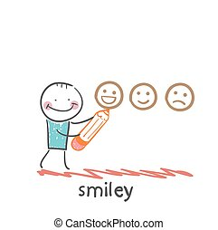 man with a pencil draws smiles