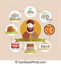 Illustration Italy Rome man travels to Rome