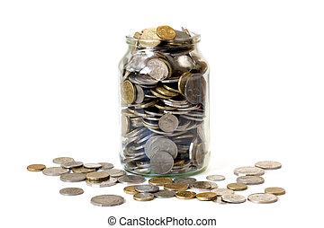 Overflowing Jar of Coins - Overflowing jar of Australian...