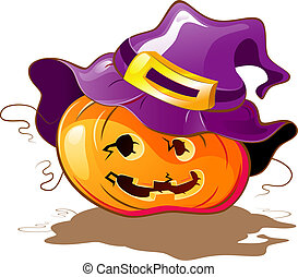 Halloween Pumpkin a purple hat. Isolated on white. EPS 8, AI