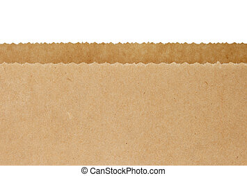 Brown Paper Bag - Top serrated edges of an open brown paper...