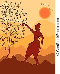 Shadow Art, Women Fetching Fruit From Tree Vector Art