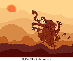 Shadow Art Ganesha Vector Art