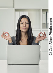 Pretty Woman Using Laptop with Yoga Hand Gestures - Close up...