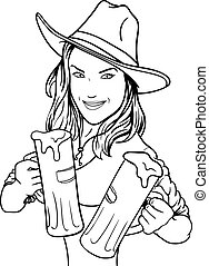 Beer Girl - Sexy young girl with beer. Outline picture of a...