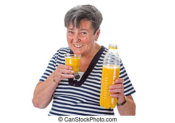 Elderly woman with orange juice