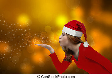 Christmas girl blowing - beautiful girl with Christmas hat,...