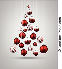 Christmas tree with red christmas balls Vector illustration...