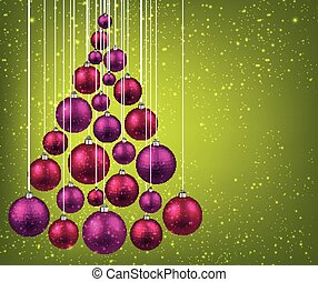 Christmas tree with magenta christmas balls - Christmas tree...