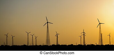 Windmills in desert - Electricity generating windmills in...