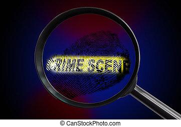 crime scene mag glass - Fingerprint and crime scene tape and...