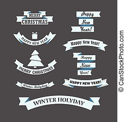 Different retro style christmas ribbons set. Design elements