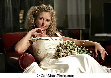 Relaxed young adult bride
