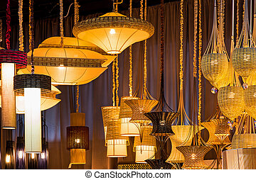 The lamps are made ??from bamboo - Lamp made ??from a lot of...